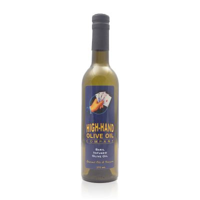 Image of a 375ml bottle of Basil Infused Olive Oil