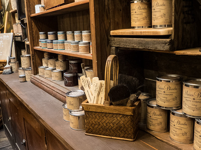 View of the variety of supplies from Maison Blanche Paint Company
