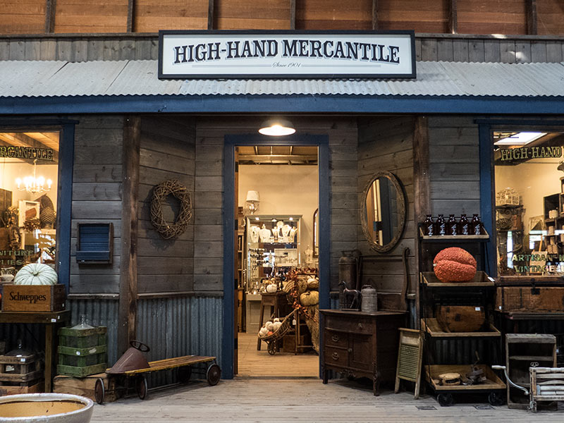 The front entrance to High-Hand Mercantile