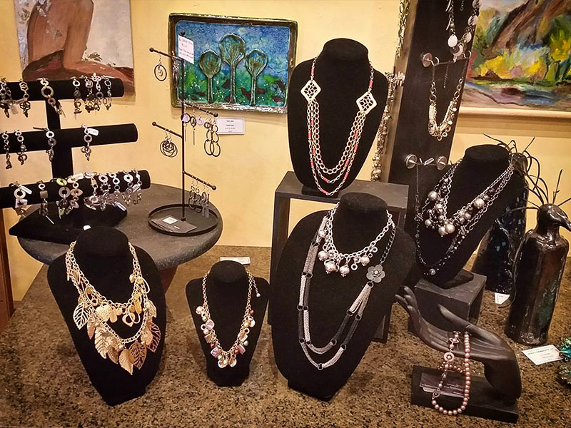 Another view of the custom jewelry available at the High-Hand Art Gallery