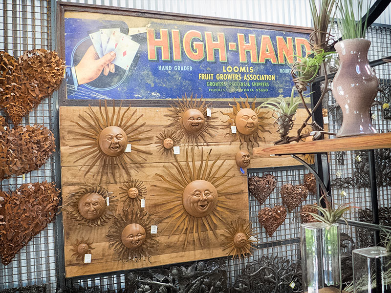 Some of the unique metal sculptures at the High-Hand Flower Market