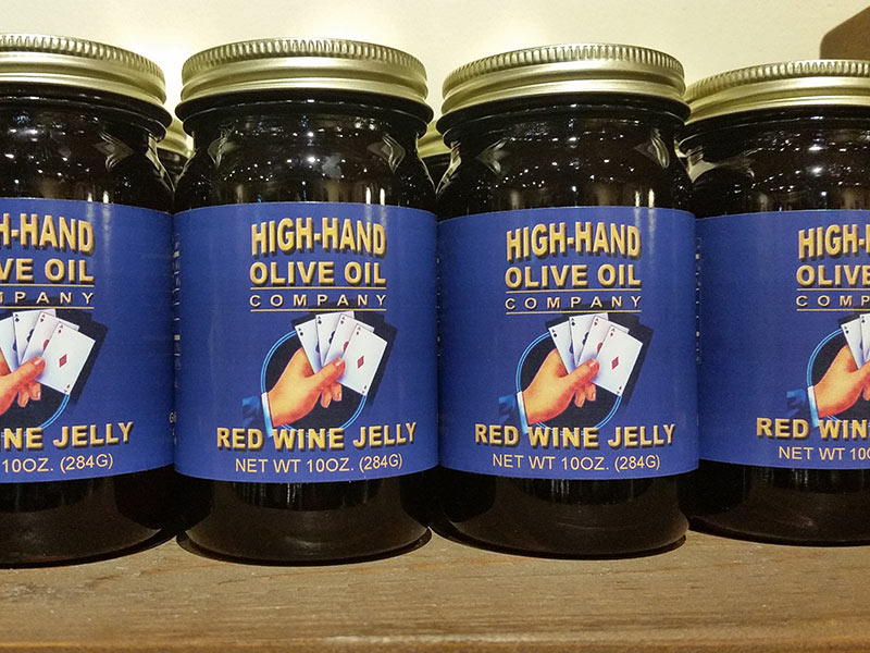Jars of Red Wine Jelly from the High-Hand Olive Oil Company
