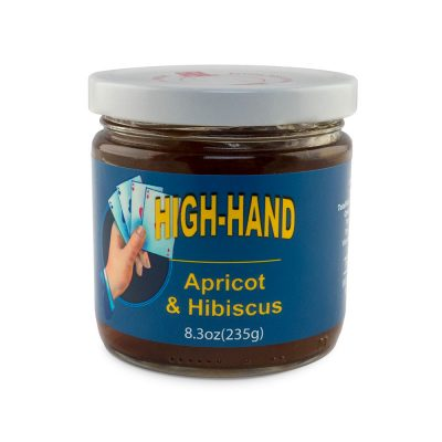 Image of a 8.3 oz jar of Apricot and Hibiscus Jam