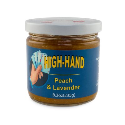 Image of a 8.3 oz jar of Peach and Lavender Jam